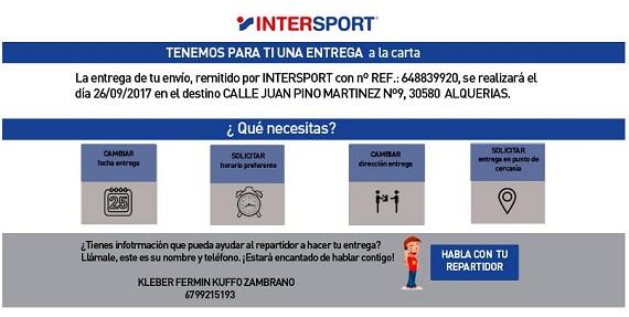 intersport envíos devoluciones